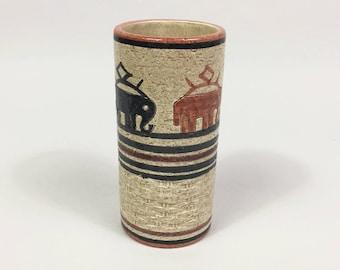 """Bitossi Vimini or """"wicker"""" decor vase scarce piece in excellent condition"""