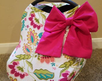 Car seat Cover Nursing cover Shopping Cart Cover 3 in1 stretchy carseat cover with Add on Large bow if requested