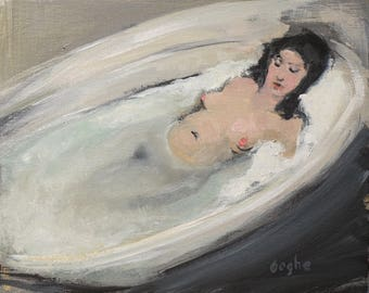Original Artwork-Giclee-Archival Reproduction Print-Pool Painting-Nude Female-Water-Oil Painting-Impressionism-Diver-Fine Art-Erotic-Sensual