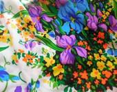 Stunning Multicolor Floral 70's Fabric Remnant, Neon Bright Textured Fabric, 70's Bark Fabric, Iris Print Fabric, Boho Fabric, 3+ Yards