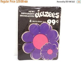 40% OFF NOW Vintage Vinyl Flower Power Stickers, Dazees Purple & Pink Daisy Stickers, Adhesive Daisy Stickers, VW Bug Daisy Stickers, Unused