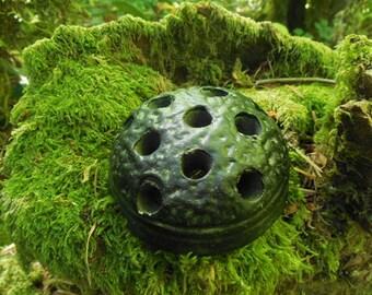 Textured Black Ceramic Flower Frog, Vintage Ceramic Flower Frog, Pottery Flower Arranger Frog, Collectible Flower Arrangement Tool, Display