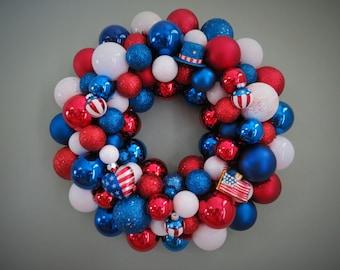 Patriotic Wreath Ornament WREATH USA Red White Blue PATRIOTIC Ornament Wreath with Heart Hat Flag ornaments