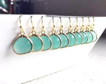 10% OFF SET of 5 Wedding Jewelry Gold Mint Drop Earrings, Mint Earrings, Bridesmaid Earrings, Bridal Earrings, Wedding Earrings,Delicate