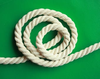 10 mm Cotton Rope = 12 Yards of Natural and Elegant COTTON TWISTED CORD