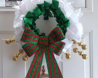 Fun Green, White, Gold, and Red Holiday Wreath