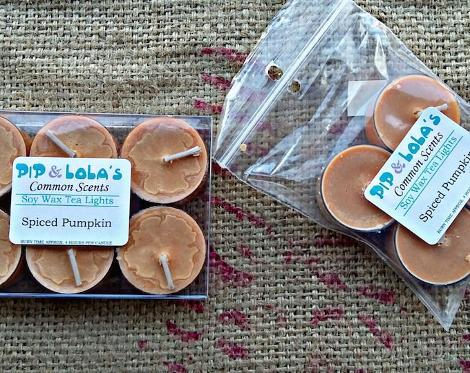 Spiced Pumpkin Tea Lights - Pip & Lola's Common Scents - Soy Candle Wax, Tea Lights, Soy Wax, EcoSoy, Candle, Lightly Scented