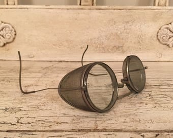 Vintage Safety Goggles - Industrial, Retro Wire Safety Glasses - Steampunk