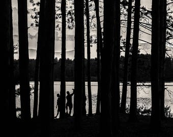 cooper lake silouette, 8x10 black & white fine art photograph, nature