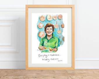 Julia Child, Portrait and humorous quote Painting\\ Kitchen Art, for the chef\\ inspiring women