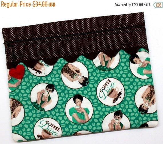 SALE Coffee Diva Cross Stitch, Sewing, Embroidery Project Bag