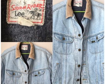 Vtg Storm Rider LEE DENIM Trucker Jacket Blanket Lined Sz L Made in USA Worn