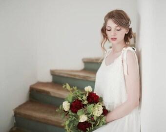 Bridal Birdcage Veil, Mini Bridal Veil, Lace Veil, Lace on Veil, White Veil, Ivory veil, Bandeau Veil, Wedding Veil, Bird Cage Veil