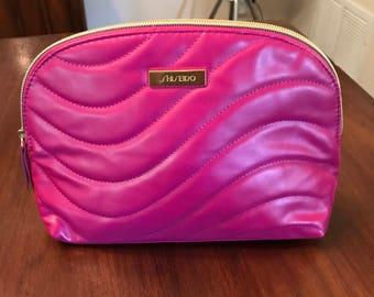 Vintage Hot Pink Shiseido Cosmetics Makeup Bag Designer Shiny 1980s MINT