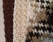 Beige Dishcloth Set Cotton Crochet - 3 Pack Extra Large 9x9