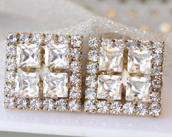 Swarovski Clip On Earrings, Bridal Clip On Earrings, Clear Crystal Stud Earrings, Rhinestone Clip On Earrings, Silver Non Pierced Earrings