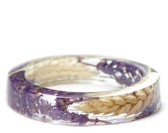 Lavender Jewelry- Resin Flower Jewelry- Jewelry with Real Flowers- Dried Flowers- Lavender Wheat- flower Bracelet- Resin Jewelry
