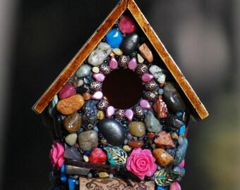 Stone birdhouse/Fairy garden/birdhouse/Mosaic/Whimsical/pink rose/Wine cork art/spring garden decor/mothers day/gift for her/pink mosaic art