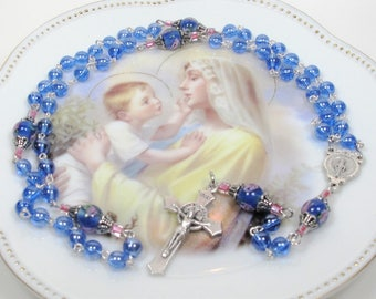 Rosary,Blue Glass Rosary,Rosaries,Religious Gifts,Catholic Gifts,Confirmation Gifts,First Communion,St. Benedict and Miraculous Medal,#R39
