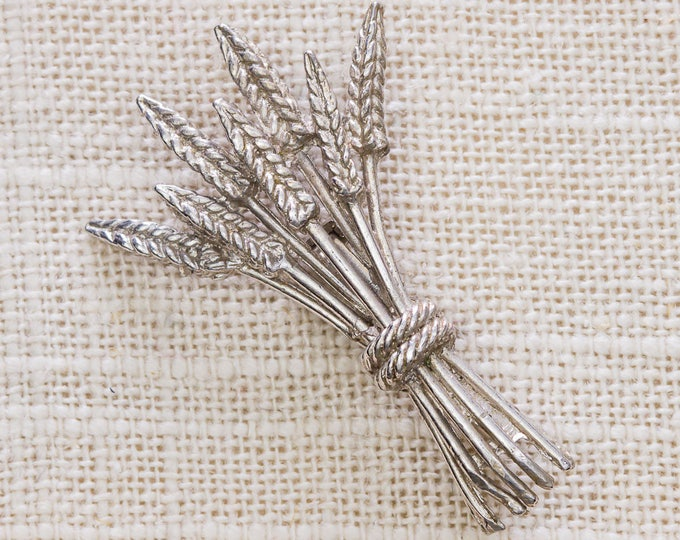 Silver Wheat Brooch Vintage Small Broach Vtg Pin 7JJ