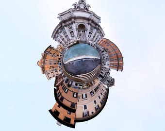 360 panograph Trevi Fountain Rome Italy spherescape 16x16 Print on Paper