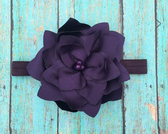 Eggplant Flower Headband | Newborn- Adult | Photo Prop, Birthday Headband, Easter Headband, Flower Girl Headband