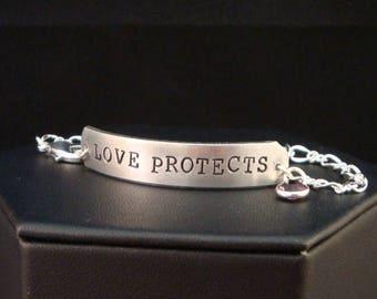 SALE CIJ2017 Domestic Violence Awareness Bracelet / Social Worker Gift / Love Protects ID Bracelet with Swarovski Crystal / Dva Jewelry