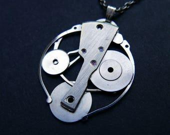 "Watch Parts Necklace ""Theta"" Delicate Beautiful Mechanical Watch Sculpture Pendant Industrial Steampunk Elegant Mechanical Mind"