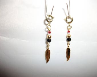 Feather n Red n Black n White n Gold Charms
