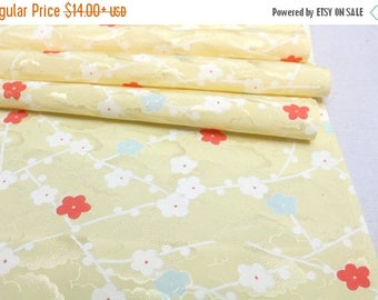 SALE Vintage Japanese Silk. Artisan Kimono Fabric. Yellow Plum Blossom Design (Ref: 1616)