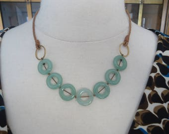 Light Green Serpentine Donut Beaded Necklace w/ Leather Cords and Gold Filled Clasp and Chain