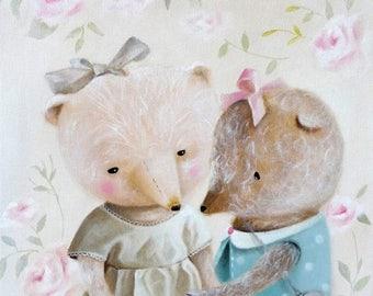 On Sale Teddy Bear Print, animal painting bearlover, nursery illustration, girl room decor, whimsical art, Realism wall decor, animals in cl