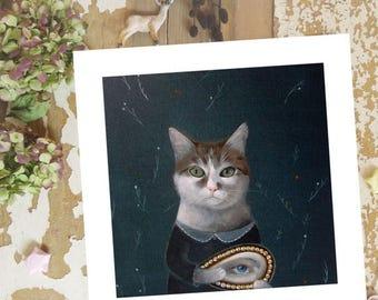 On Sale Whimsical CAT art Print Cat PRINT Cat Decor Cat PAINTING  Cat Wall Art Cat Illustration Cat Wall Decor Artwork Poster, Cat Lover Gif