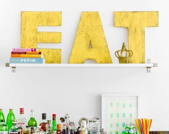 EAT Big Letter Set Letters EAT Kitchen Decor Wooden Letter Set