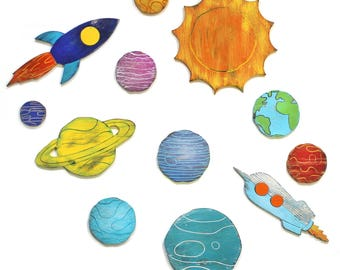 Solar System Decor Wooden Planets Rockets Wall Decor Space Nursery Kids Spaceship Bedroom Decor