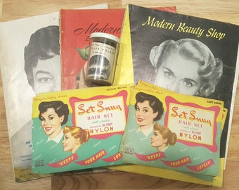 Vintage 1940s to 50s Beauty Hair Salon Lot. 15 old stock Hair Nets Magazines Roller Pins plus