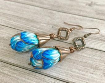 Bud flower earrings - blue earrings - Bohemian boho Earrings - blue dangles floral earrings - Unique Gift - Romantic jewelry - Gift for her