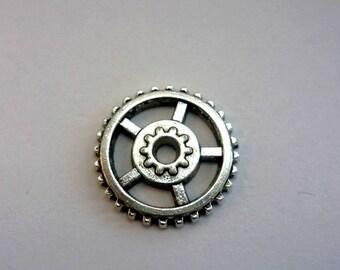 1 connector 17mm antique silver metal