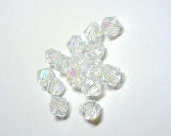 lot 20 perles facetées toupies transparentes reflets irisés 4mm