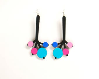 Black Turquoise Pink Long Plywood floral earrings