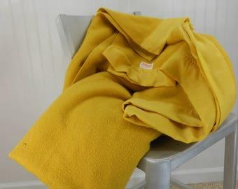 "BATES Blanket Dijon Mustard Yellow Acrylic Blend 3"" Satin Binding Vintage Great"
