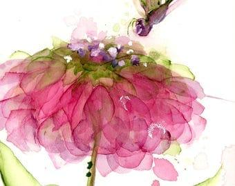 Modern Botanical Art Print, Floral Art Print, 12 x 16 Flower and Dragonfly