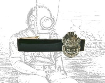 Deep Sea Diver Helmet Tie Clip Inlaid in Hand Painted Enamel Captain Nemo Inspired with Color Options