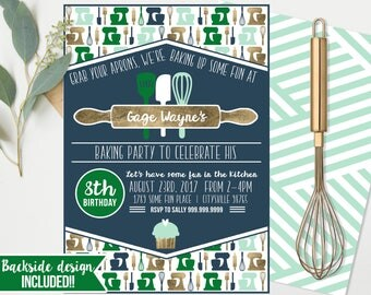 Cooking Baking Birthday Invitations  - Cooking Baking Birthday - Boys Birthday - Cupcake Party Instant Download and Edit at home