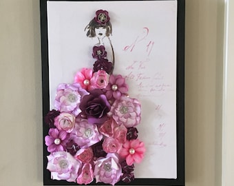 Paper flower art collage glamour girl nursery decor wall dress pink purple lavender pearl floral queen baby room princess diva high fashion