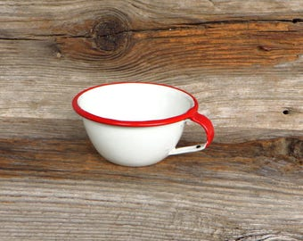 Enamelware Cup Red and White Enamelware 1950s Kitchen Farmhouse Kitchen Decor Rustic Cabin Decor