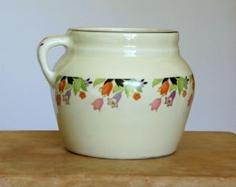 Vintage Bean Pot, Hall China Crocus, Ceramic Casserole with Lid, Cottage Kitchen