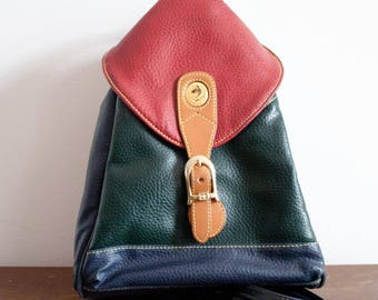 Vintage 90s Alfred Sung Color Block Backpack Purse Leather