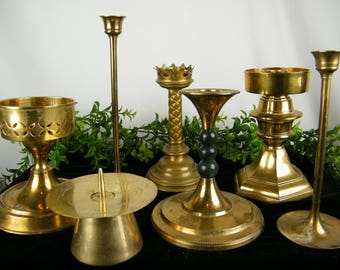 Brass Candlesticks - Eclectic Mix of Vintage Candle Holders - Holiday Table Centerpiece - OOAK set of 7 - Vintage Wedding Decor - Collection