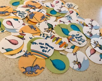 Oh The Places You'll Go Confetti - 100 Pieces 1 Inch Round - Baby Shower - Birthday Confetti -  Cupcake Toppers
